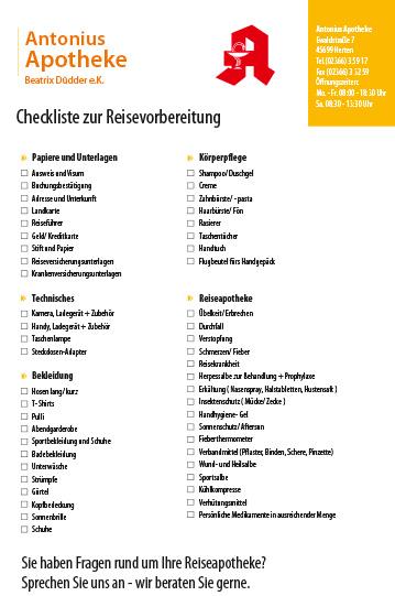 Checkliste zur Reisevorbereitung